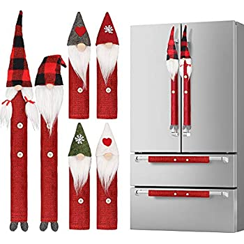 D-FantiX Gnome Christmas Refrigerator Handle Covers Set of 8, Adorable Swedish Tomte Kitchen Appliance Handle Covers Microwave Oven Dishwasher Fridge Door Handle Covers Protector Christmas Decorations