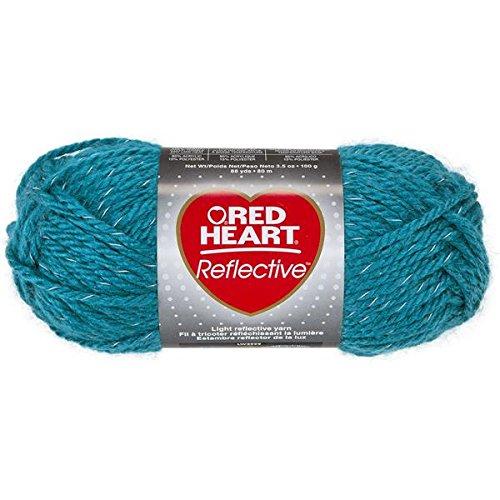 Red Heart Coats Yarn Reflective Yarn, Peacock (Crochet Heart Pillow)