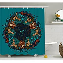 Mermaid Decor Shower Curtain Set by Ambesonne, Marine Theme Circle of Mermaids Illustration Vintage Style Ornamental Pattern Decor, Bathroom Accessories, 84 Inches Extralong, Teal Red Cream