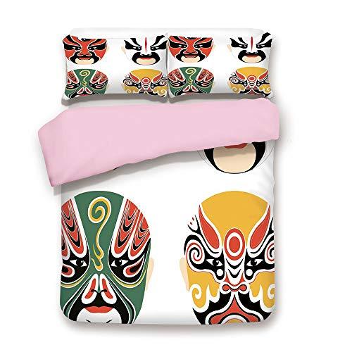 iPrint Pink Duvet Cover Set,Full Size,Cultural Drama Costumes