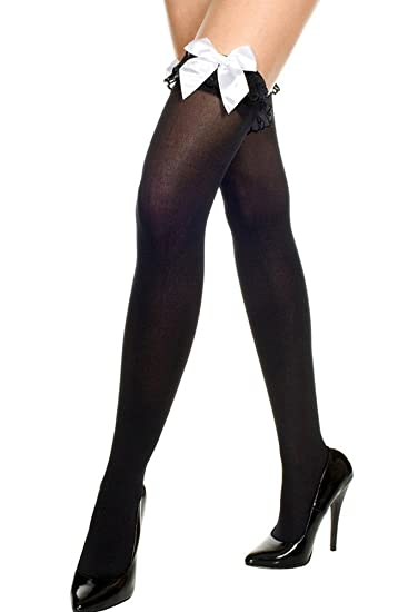 d74f78100b92a Amazon.com: Music Legs Opaque Thigh Highs with Ruffle and Bow Black/White  One Size Fits Most: Adult Exotic Hosiery: Clothing