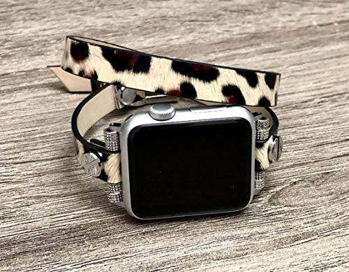 Leopard Print Vegan Leather Bracelet For Apple Watch 38mm 40mm 42mm 44mm Handmade Double Wrap Women Fashion Design iWatch Band Adjustable Size Strap Apple Watch Bracelet Band