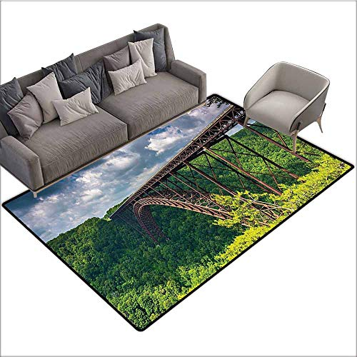 Home Bedroom Floor Mats Apartment Decor Collection,The New River Gorge Bridge Seen from Canyon Rim Visitor Center Overlook Image,Green Blue White 36