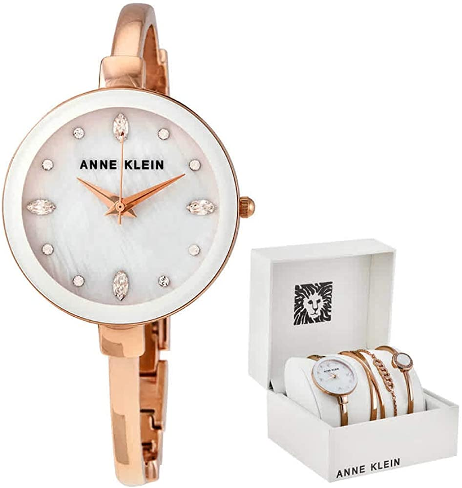 Anne Klein White Mother of Pearl Crystal Dial Ladies Watch Set AK/3402WRST