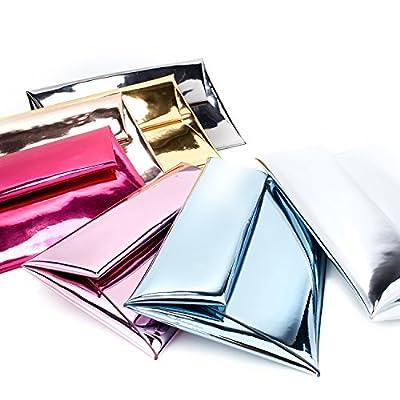 Funky Junque's Metallic Reflective Shiny Evening Envelope Clutch Purse Handbag