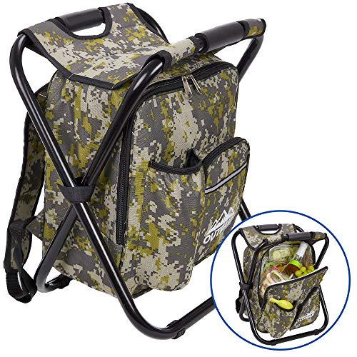 Tailgate Chair Folding Tailgating (Outrav Camo Backpack Cooler and Stool - Collapsible Folding Camping Chair and Insulated Cooler Bag with Zippered Front Pocket and Bottle Pocket – for Hiking, Beach and More)