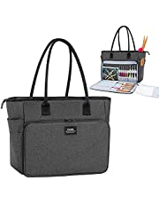 CURMIO Yarn Storage Bag, Knitting Bag for WIP Project, Crochet Hooks, Knitting Needles(up to 14 inches) and Yarn Skeins, Black (Bag Only)
