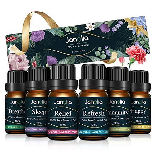 Janolia ätherisches Öle Set, Upgrade-Paket,Reines Natürliche Duftöle Set für Diffuser Entspannung Schlaf verbessern,6x10ml