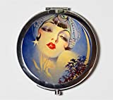 Flapper Gypsy Compact Mirror 1920's Jazz Age Roaring 20s Crescent Moon Make Up Pocket Mirror for Cosmetics