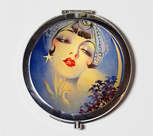 Flapper Gypsy Compact Mirror 1920's Jazz Age Roaring 20s Crescent Moon Make Up Pocket Mirror for Cosmetics by Fringe Pop