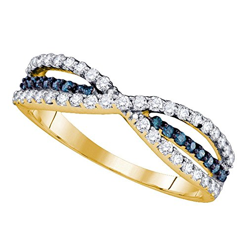 Diamond Crossover Band Right Hand Ring Fashion Style X Design Fancy 1/2 ctw Size 9 (Diamond Flower Right Hand Ring)