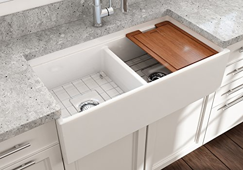 Contempo Farmhouse Apron Front Step Rim Fireclay 36 in. Double Bowl Kitchen Sink with Protective Bottom Grid and Strainer in (Fireclay Sink Grid)