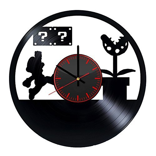 Taniastore Super Mario Design Vinyl Record Wall Clock Unique gifts for him her Gift Ideas for Mothers Day Father birthday anniversary wedding cute and original gifts for everybody