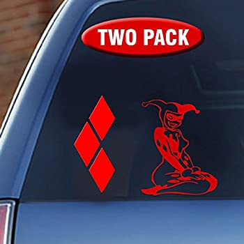 Harley quinn her diamonds vinyl decal two pack suicide squad movie red