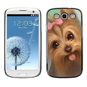 TopCaseStore / la caja del caucho duro de la cubierta de protección de la piel - Yorkshire Terrier Puppy Tongue Pink Bow Dog - Samsung Galaxy S3 I9300