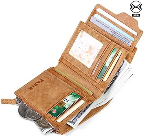 RFID Blocking Genuine Leather Wallets for Men Removable Flipout Card Holder Vintage