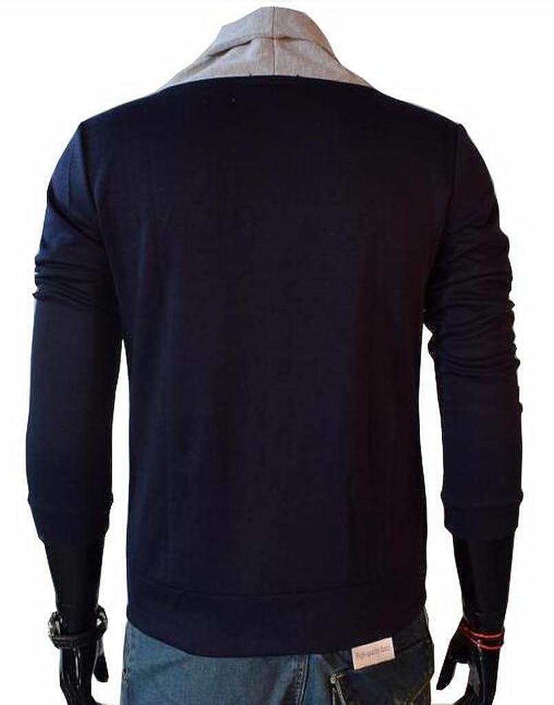 Fensajomon Mens Contrast V-Neck Button Down Long Sleeve Knit Cardigans