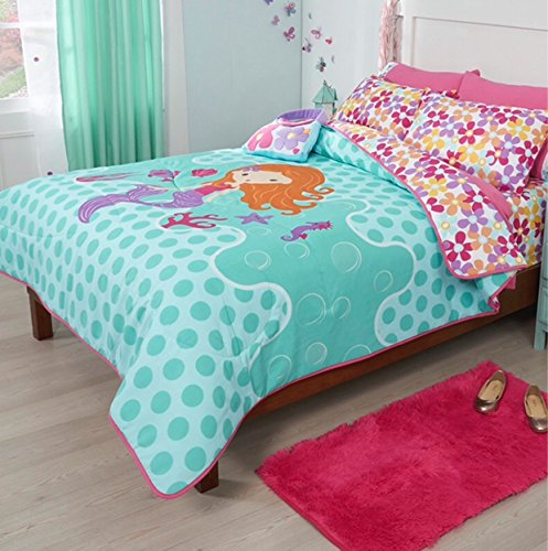 LIMITED EDITION LITTLE MERMAID KIDS GIRLS REVERSIBLE COMFORTER SET AND EMBROIDERED SHEET SET 8 PCS FULL SIZE by JORGE'S HOME FASHION (Image #2)