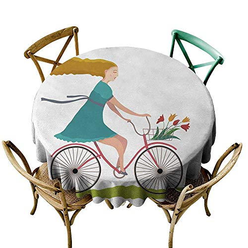 - Wendell Joshua Outdoor Tablecloth 48 inch Bicycle,Young Woman on Bike with Basket of Tulip Flowers Riding in The Spring Countryside,Multicolor Printed Indoor Outdoor Camping Picnic Circle Table Cloth