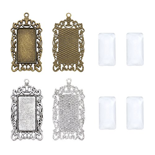 Kissitty 10pcs Transparent Glass Dome Tiles Clear Cameo Cabochons with 10pcs Antique Silver & Antique Bronze Rectangle Blank Pendant Bezel Tray Settings for Photo Pendant Craft Jewelry Making