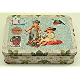 Vintage Style Oblong House Kitchen Lunch Food Storage Tin Tea Box Pencil Cookie MY-3286