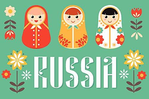 Russia - Nesting Dolls - Vector - Red and Teal (36x24 Gallery Wrapped Stretched Canvas) by Lantern Press (Image #2)