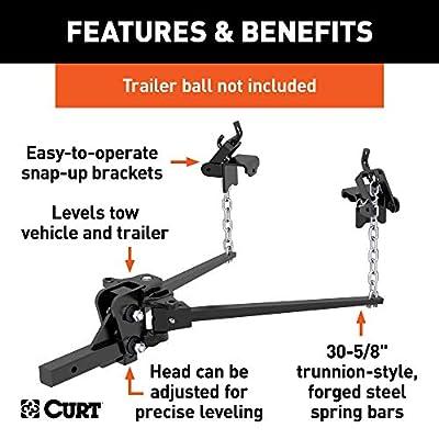 CURT 17300 Long Trunnion Bar Weight Distribution Hitch, 6,000 lbs. GTW, 2-Inch Shank: Automotive