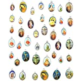 40pcs Mixed Double Sided Enamel Picture Cross Jesus Our Lady Miraculous Medal Floral Rosary Centerpiece Alloy Crucifix Cross DIY Pendants Charms
