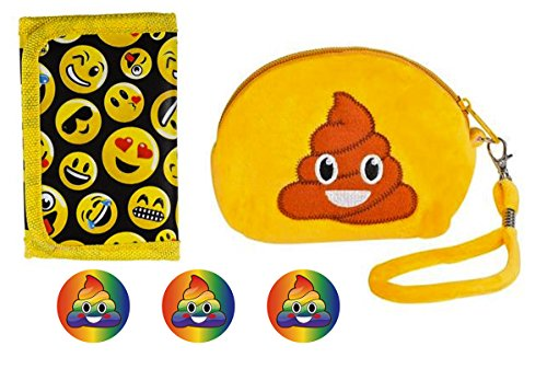 "[Emoji Poop Coin Purse 5.5"" Wristlet & Emoji Wallet 5"" & 3 Rainbow Poop Emoji Button Pins – For Girls, Boys, Teens, BFF, Stocking Stuffer, Party Favor, Office, Gift Set –Pins Made in] (Alien Dress Up Ideas For Kids)"