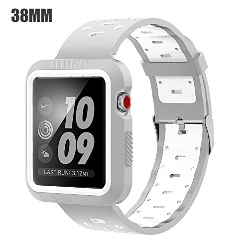 EloBeth Band with Case Compatible with Apple Watch Band 38mm Series 3 2 1 with Protector Bumper Sport Silicone iWatch 38mm Band (38mm Gray/White)