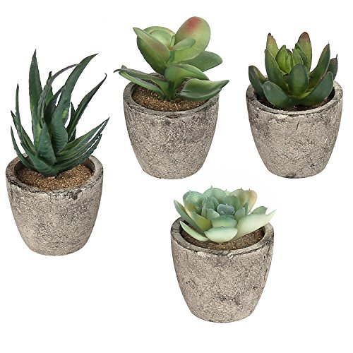 - MyGift Assorted Decorative Artificial Succulent Plants with Gray Pots, Set of 4