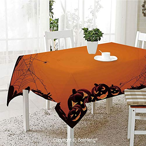- BeeMeng Spring and Easter Dinner Tablecloth,Kitchen Table Decoration,Halloween Decorations,Grunge Spider Web Pumpkins Horror Time of Year Trick or Treat,Orange Seal Brown,59 x 83 inches
