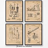 Original Woodworking Tools Patent Art Poster Prints- Set of 4 (Four 8x10) Unframed Photos- Great Wall Art Decor Gifts under $20 for Home, Office, Garage, Man Cave, Shop, Student, Teacher, Carpenter