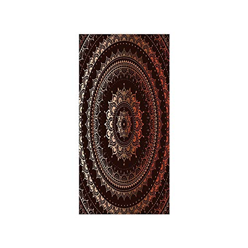 Decorative Privacy Window Film/Ethnic Tribal Circle Universe and Cosmos Symbolism Esoteric Icon Image Print/No-Glue Self Static Cling for Home Bedroom Bathroom Kitchen Office Decor Chestnut Brown