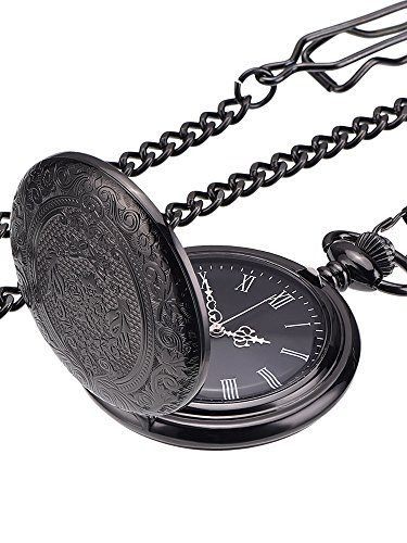 Pangda Classic Black Pocket Watch for Men Watch with Chain and Silver Hands