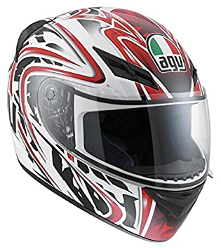 AGV Casco de moto, color Blanco/Rojo, talla XL