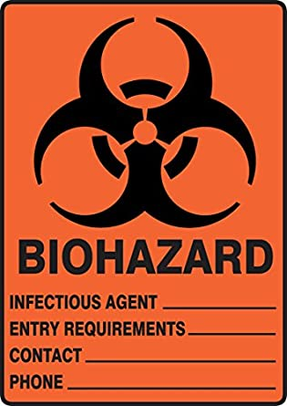 Accuform MBHZ500XT Dura-Plastic Sign 10 Length x 7 Width x 0.060 Thickness Black on Orange//Red LegendBIOHAZARD INFECTIOUS AGENT/_ ENTRY REQUIREMENTS/_ CONTACT/_ LegendBIOHAZARD INFECTIOUS AGENT/_ ENTRY REQUIREMENTS/_ CONTACT/_