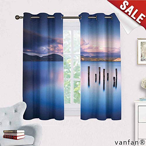 (Big datastore Apartment Decor Curtain Mount,Wooden Pier Tops Remain in Lake with Sunset Mirror Image Out Different Perspectives Blackout Printed for Kitchen,Royal Blue W72 x L63)