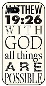 With God all things are possible - Vintage Matthew 19:26 - Bible verse iPhone 4/ 4s black plastic case / Christian Verses