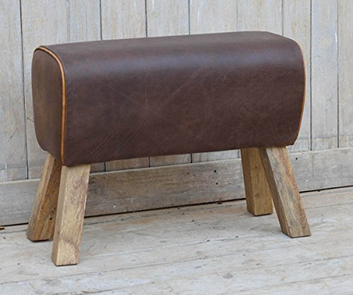 NACH vv-5311 28x11x20'' Rustic Wood and Leather Foot Stool by NACH