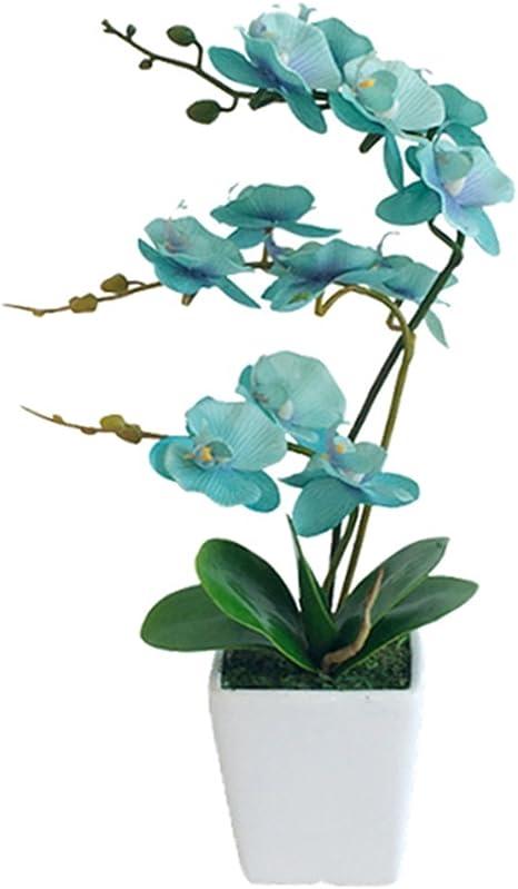 Amazon Com Yszl 15 Inches Tall Artificial Silk Phalaenopsis Orchid Flower Plant Pot Arrangements Golden Blue Home Kitchen