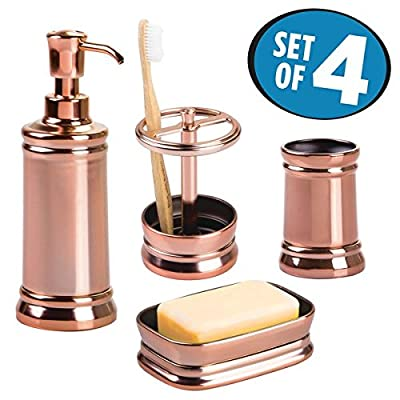 mDesign Bath Accessory Set, Soap Dispenser Pump, Toothbrush Holder, Tumbler, Soap Dish- 4 Pieces, Rose Gold - This set of four includes an 8 oz. refillable soap pump, toothbrush holder, tumbler and soap dish Refillable soap pump holds up to 8 oz. of soap and features a wide mouth for easy refills Toothbrush holder has two sections for storing toothbrushes, toothpaste, makeup brushes and more! - bathroom-accessory-sets, bathroom-accessories, bathroom - 51v7Hxh9KDL. SS400  -