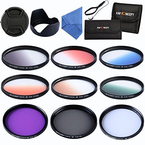 Filter Set 55mm K&F Concept® Slim Objektiv Filterset,UV CPL FLD Filter Set,Verlaufsfilter Set,Kamera Zubehör Set für Nikon Canon DSLR Kamera + Reinigungstuch für Objektive + Objektivkappenhalter + 2 Filtertaschen + Gegenlichtblende + Objektivkappe