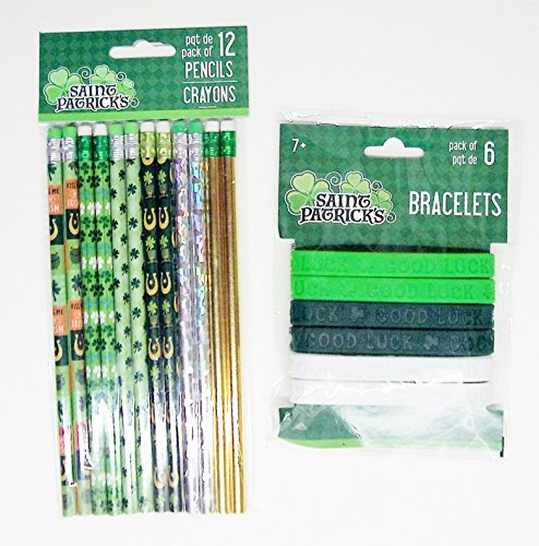 Shamrock Pencils - Saint Patricks Day Pencils & Good Luck Bracelets