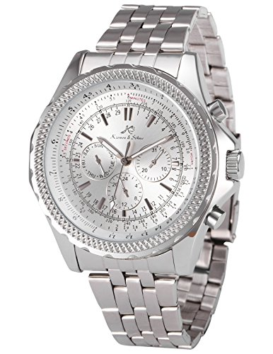 Ks Imperial Series Day Date Automatic Mechanical Men's Silver Stainless Steel Band Wrist Watch (Day Date Series)
