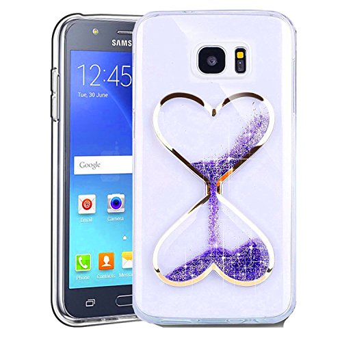 Price comparison product image S7 Case,S7 Glitter Case,DAMONDY Cute 3D Moving Stars Bling Liquid Glitter Floating Flowing Quicksand Love Heart Ultra Clear Soft TPU Case for Samsung Galaxy S7 ONLY-purple