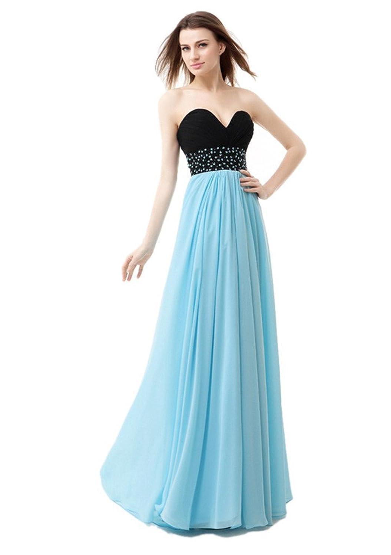 Olidress Women's Strapless Long Evening Dress Prom Dress With Beadings