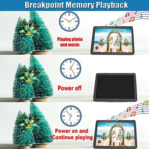 Digital Picture Frame, Videosky 8 inch Digital Photo Frame with 1920×1080 IPS Screen Support Breakpoint Play, Music, 1080P Video, Auto Power On Off, Remote, SD Card and USB