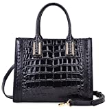 PIJUSHI Women Top Handle Satchel Handbags Designer Leather Tote Bag 27010(Black Croco)
