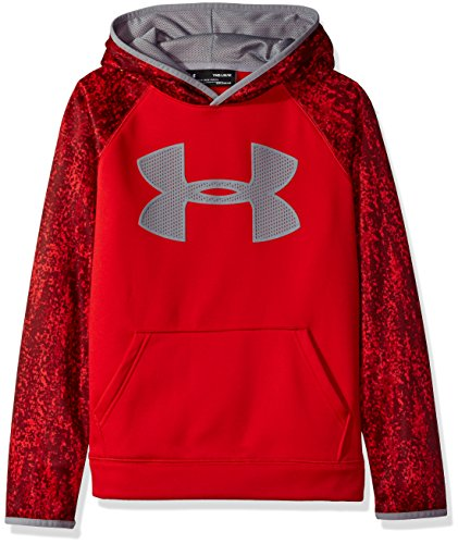 - Under Armour Boys' Storm Armour Fleece Big Logo Printed Hoodie,Red (600)/Steel, Youth Medium